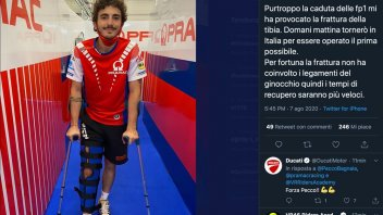 """MotoGP: Bagnaia: """"legamenti non coinvolti dalla frattura, recupero più rapido"""""""