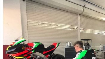 MotoGP: Max Biaggi on track at Valencia with the Aprilia RSV-4 1100 X