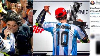"""MotoGP: Valentino Rossi saluta Maradona: """"Ciao Diego, mago del pallone"""""""