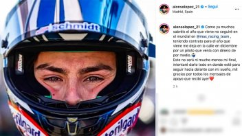 """Moto3: Alonso Lopez against Biaggi: """"Left stranded with a signed contract"""""""