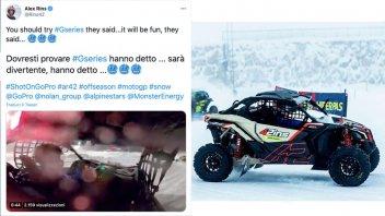 MotoGP: Alex Rins incanta in derapata sulla neve nella GSeries ad Andorra