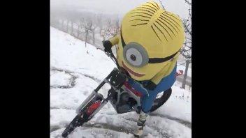 MotoGP: VIDEO - Alex Marquez turns into a Minion in the snows of Cervera