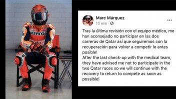 "MotoGP: LATEST NEWS - Marc Marquez updates Honda: ""I will miss both races in Qatar"""
