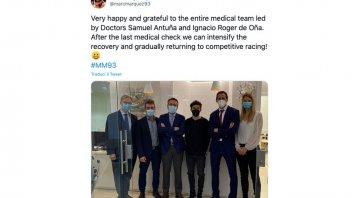 """MotoGP: Marquez: """"Sono felice e grato ai dottori. Posso tornare alle gare"""""""