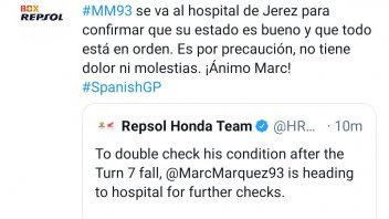 MotoGP: LATEST NEWS - Marquez in hospital in Jerez for further checks