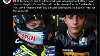 Moto3: Frattura all'astragalo per Tatay, a Barcellona lo sostituirà Bartolini
