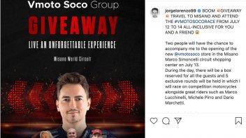 News: Vai su Instagram e vinci un fine settimana con Jorge Lorenzo a Misano