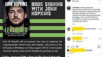 MotoGP: Leathered: John Hopkins firmerà il suo libro a Silverstone