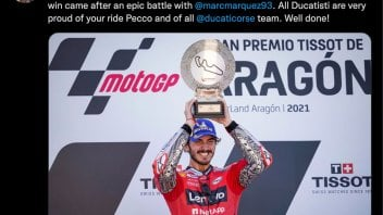 """MotoGP: Domenicali: """"Well done Pecco, all Ducatisti are proud of you"""""""