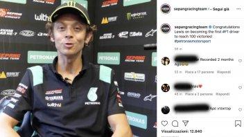 MotoGP: Valentino Rossi si congratula con Lewis Hamilton per la vittoria n°100